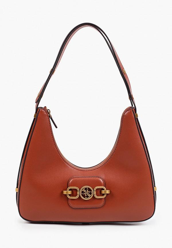 женская сумка с ручками guess, коричневая