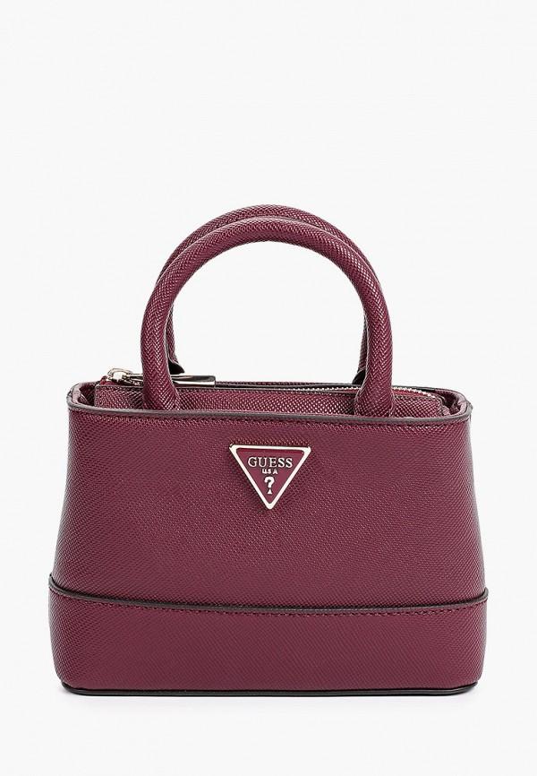 женская сумка с ручками guess, бордовая
