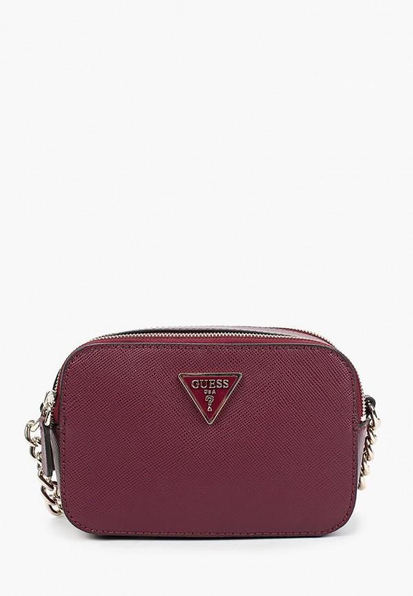 женская сумка через плечо guess, бордовая