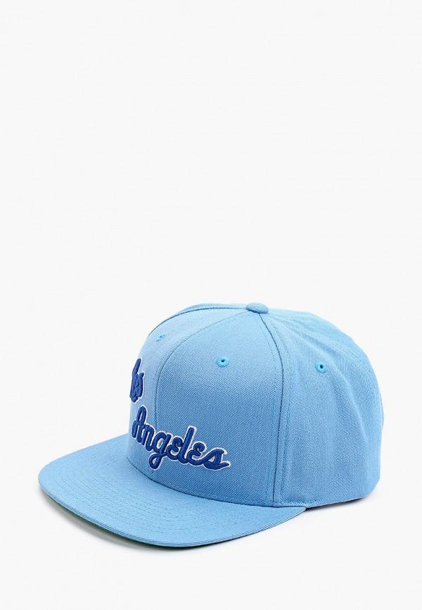 женская бейсболка mitchell & ness, голубая