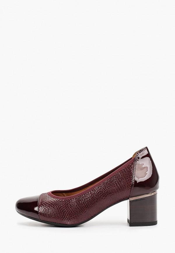 женские туфли с закрытым носом caprice, бордовые
