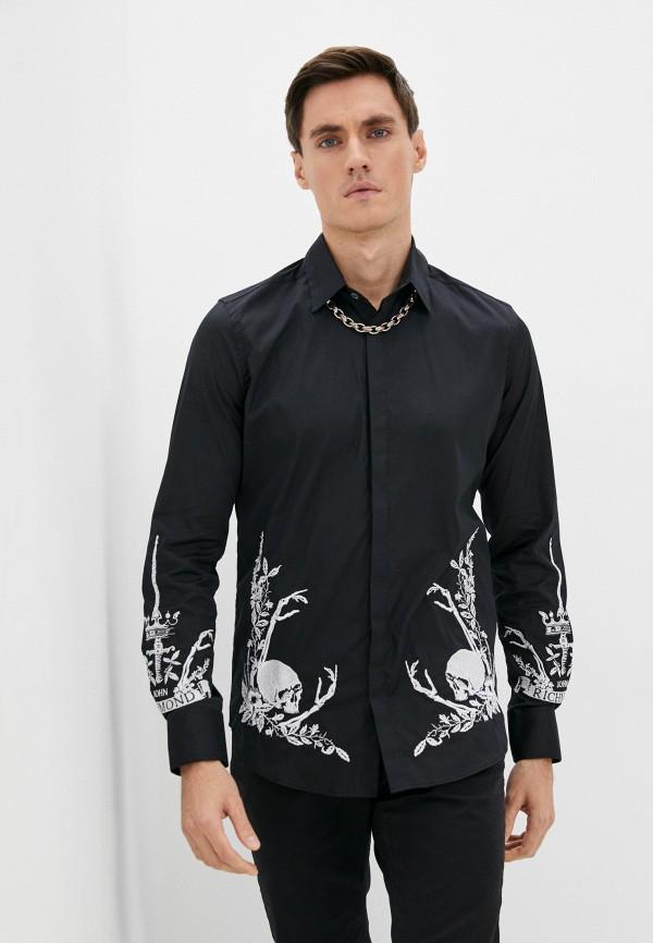 мужская рубашка с длинным рукавом john richmond, черная