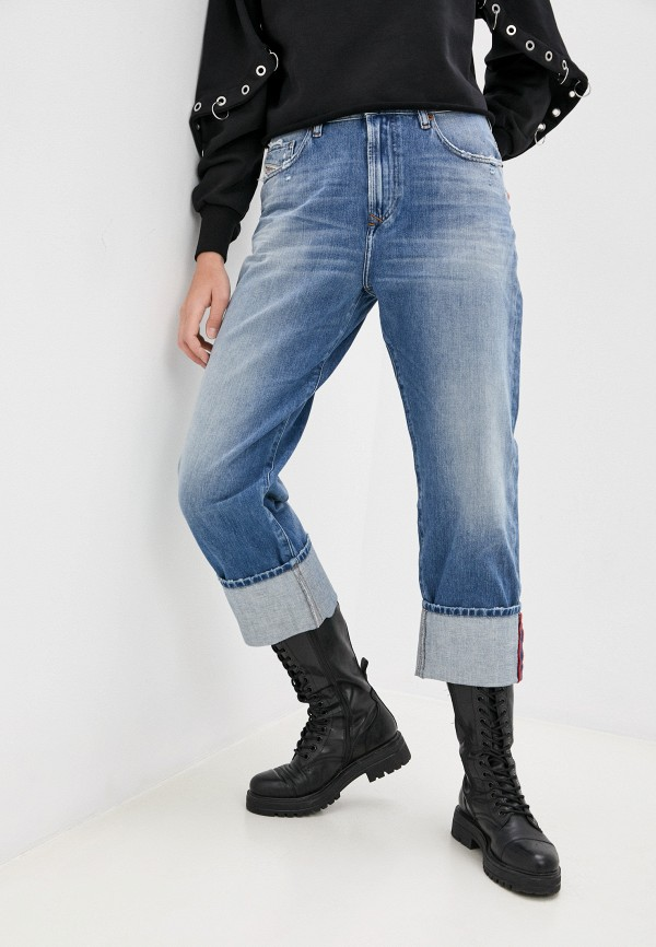 женские джинсы бойфренд diesel, голубые