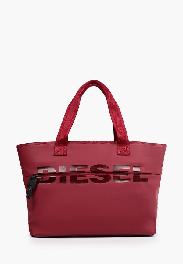 женская сумка-шоперы diesel, бордовая