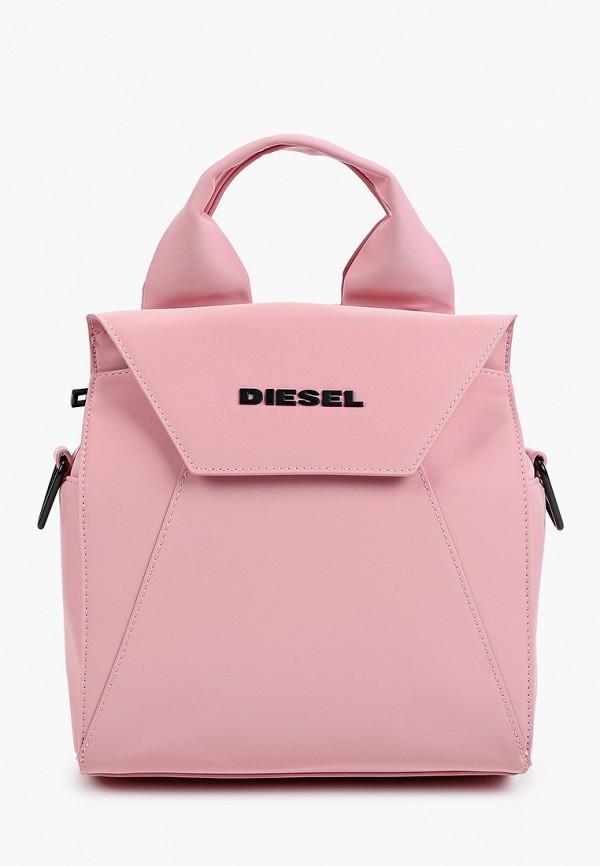 женская сумка с ручками diesel, розовая