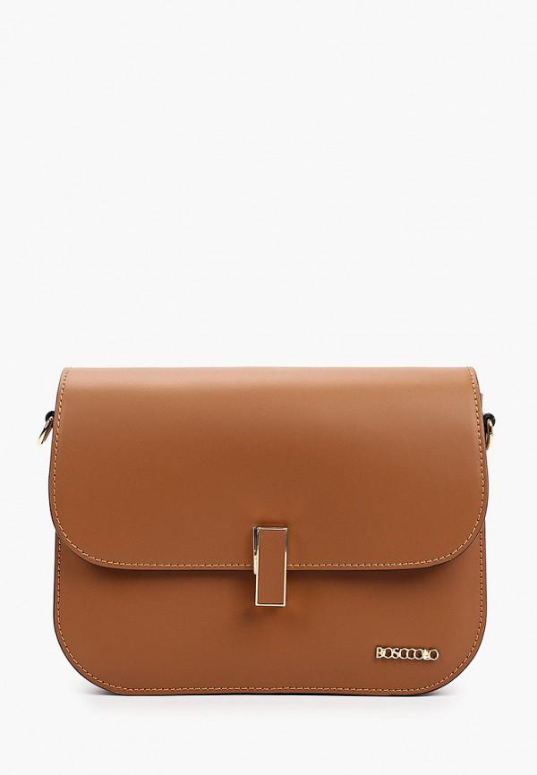 женская сумка через плечо bosccolo, коричневая