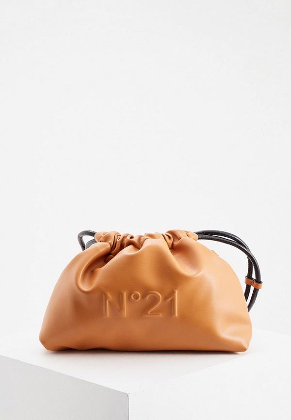 женский кошелёк через плечо n21, коричневый