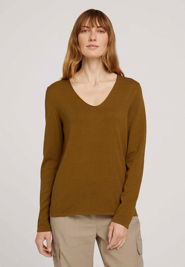 женский пуловер tom tailor, хаки