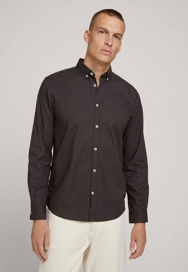 мужская рубашка с длинным рукавом tom tailor, черная