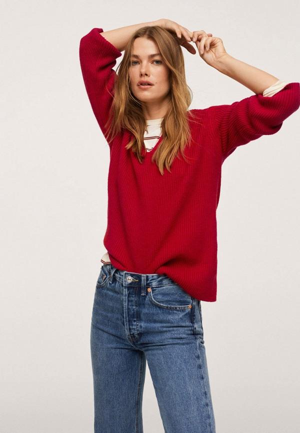 женский пуловер mango, бордовый