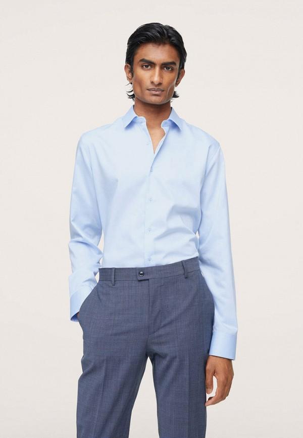 мужская рубашка с длинным рукавом mango man, голубая