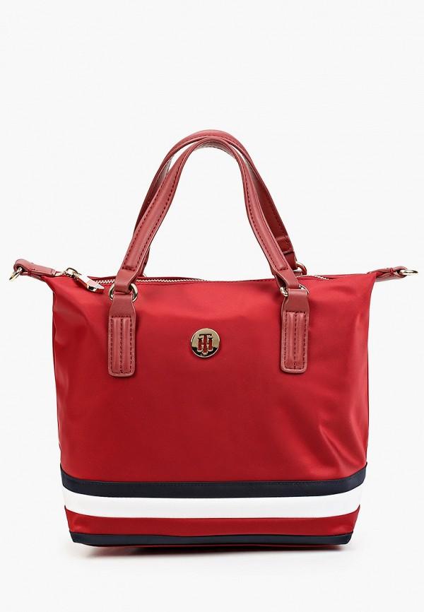 женская сумка с ручками tommy hilfiger, бордовая