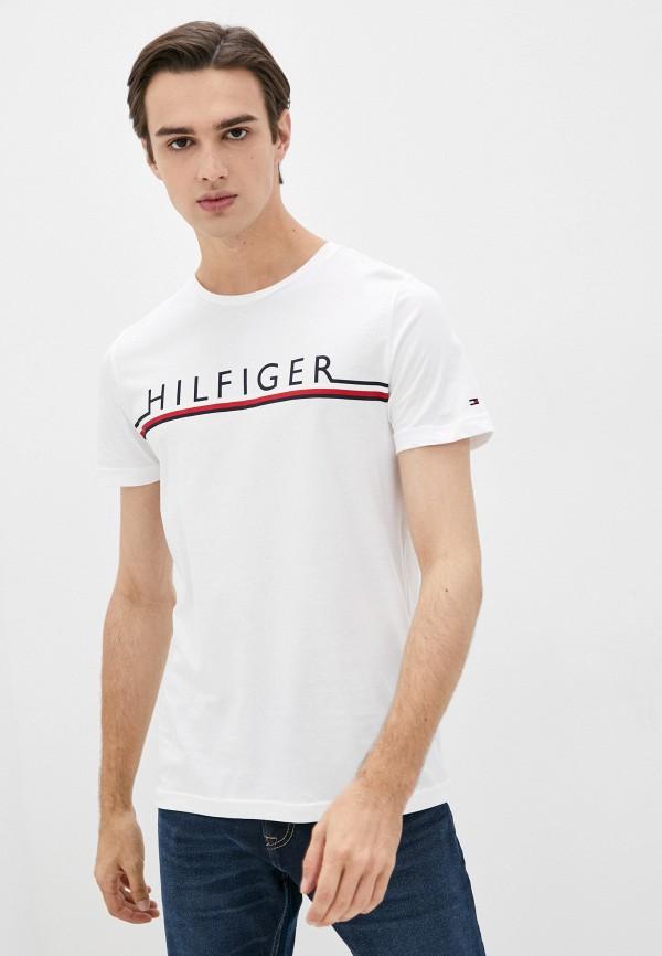 мужская футболка с коротким рукавом tommy hilfiger, белая