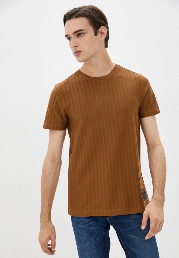 мужская футболка с коротким рукавом tommy hilfiger, коричневая