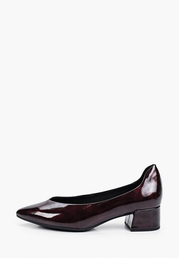 женские туфли с закрытым носом marco tozzi, бордовые