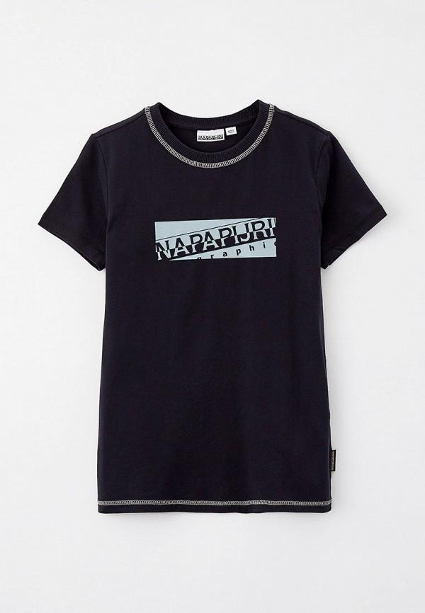 футболка с коротким рукавом napapijri для мальчика, черная