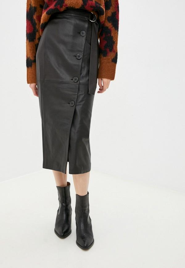 женская кожаные юбка french connection, коричневая