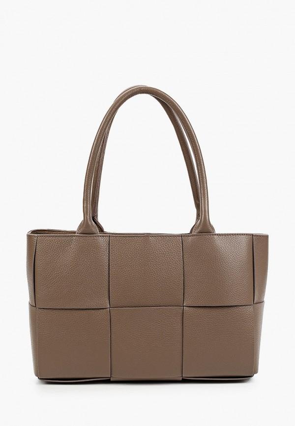 женская сумка с ручками giulia monti, коричневая