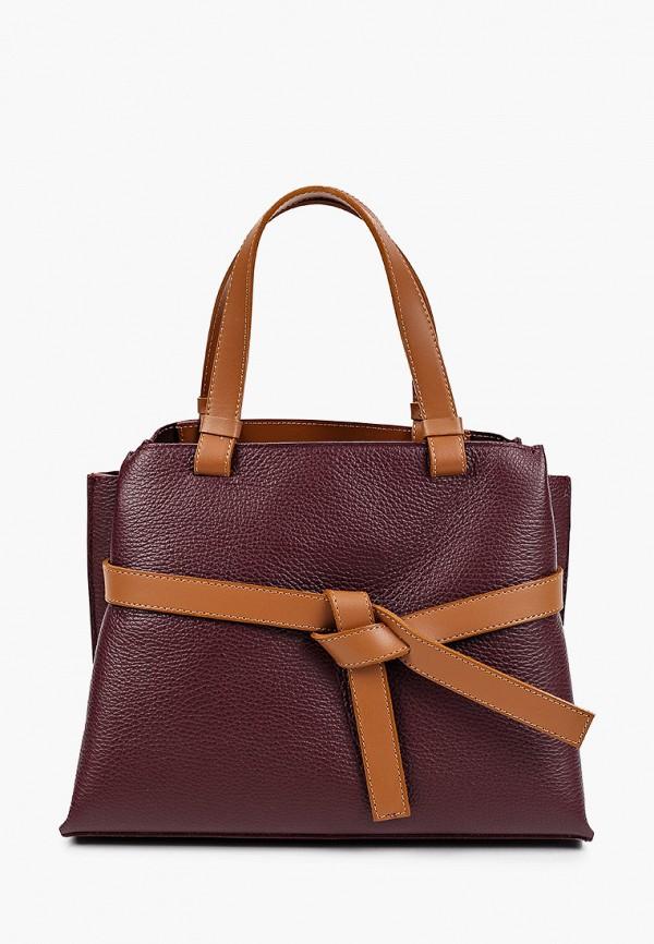 женская сумка с ручками giulia monti, бордовая