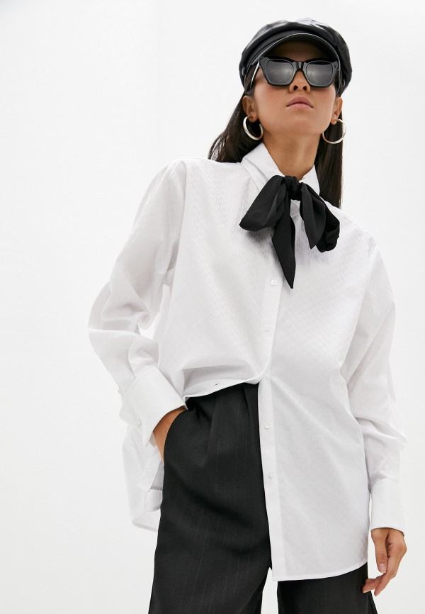 женская блузка с длинным рукавом karl lagerfeld, белая