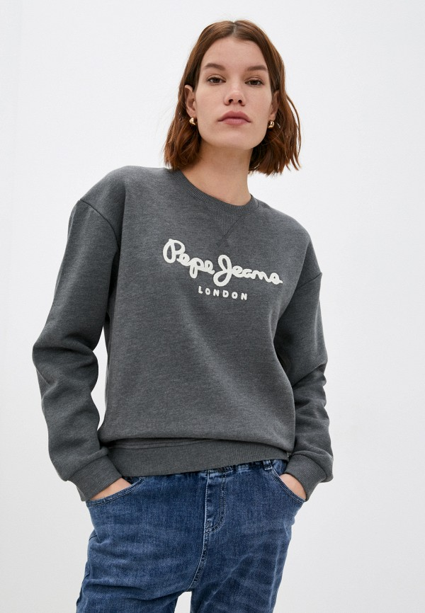 женский свитшот pepe jeans london, серый