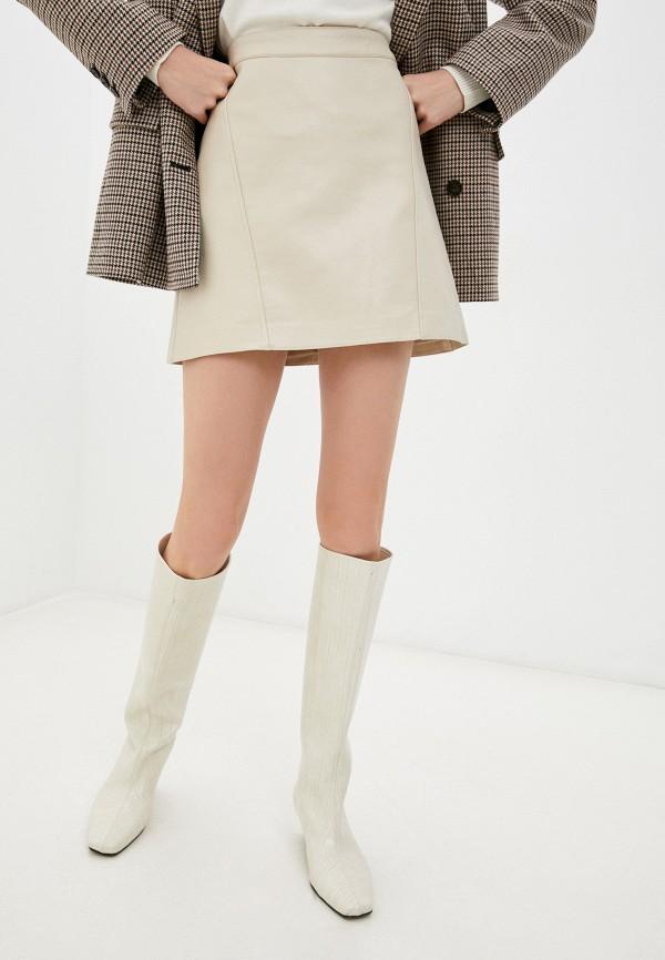 женская юбка pepe jeans london, бежевая