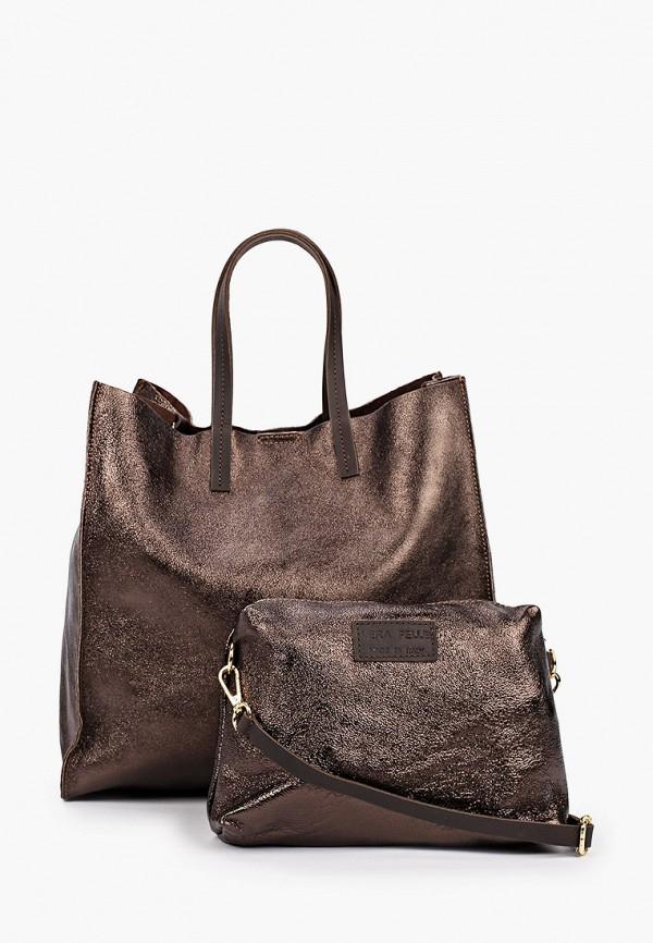 женская сумка-шоперы lamania, коричневая