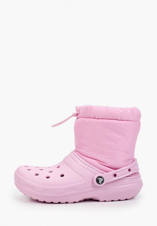 женские дутики crocs, розовые