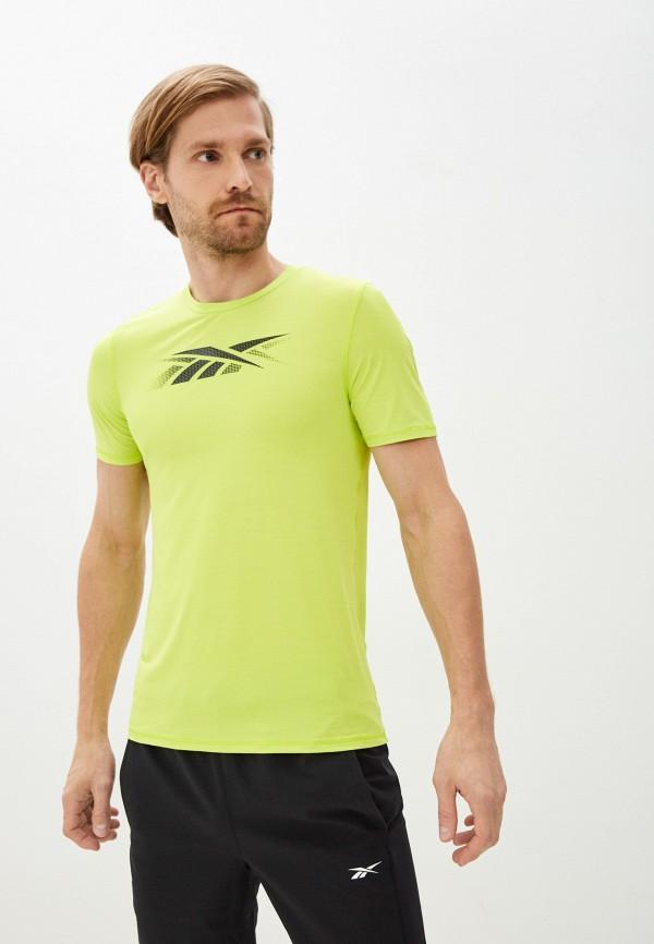 Футболка спортивная Reebok зеленого цвета