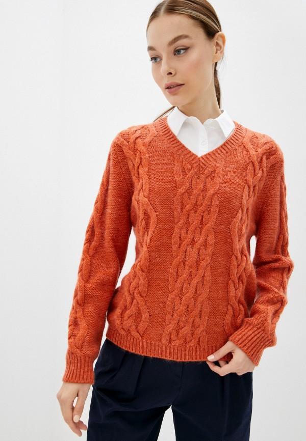 женский пуловер united colors of benetton, оранжевый