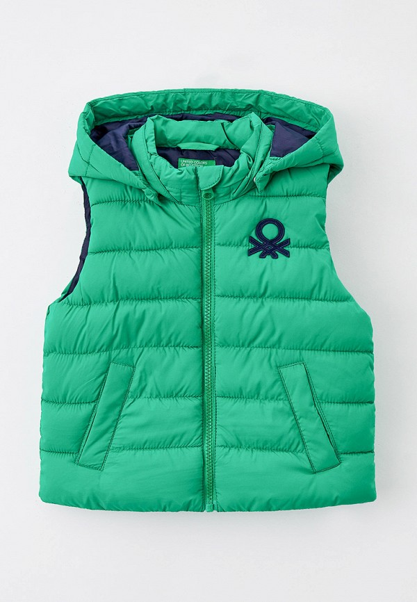 утепленные жилет united colors of benetton для мальчика, зеленый