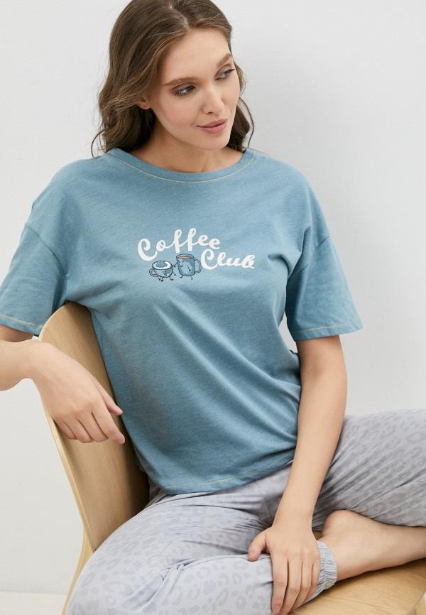 женская футболка marks & spencer, голубая