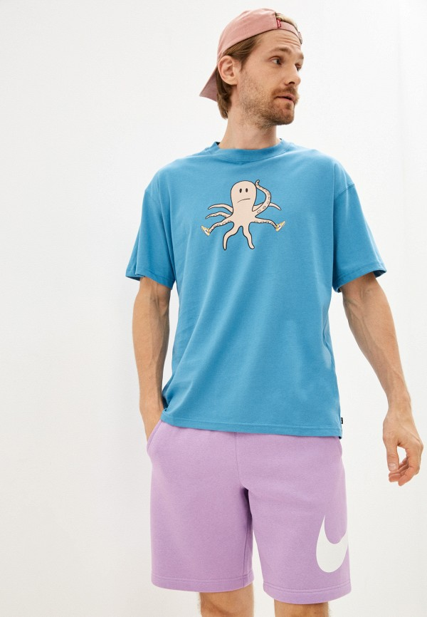мужская футболка с коротким рукавом nike, голубая