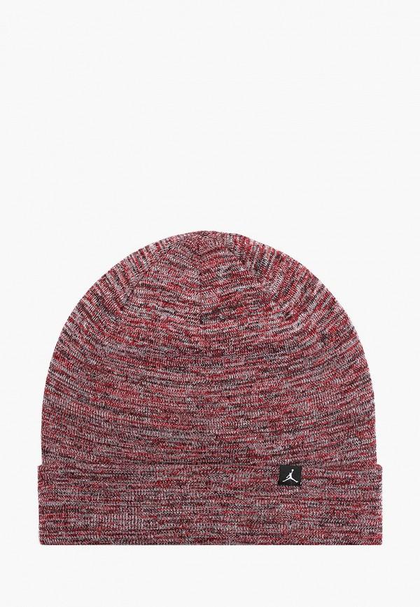 женская шапка jordan, бордовая