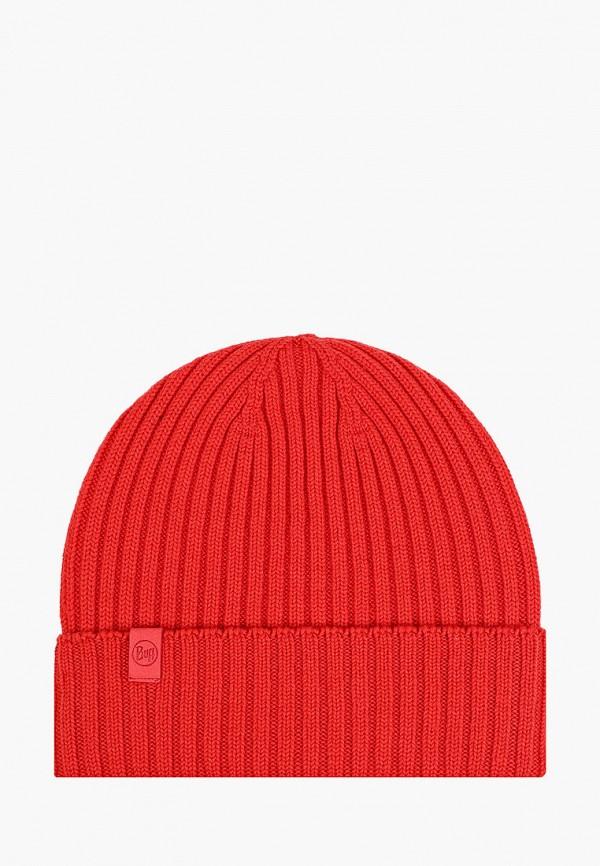 женская шапка buff, красная