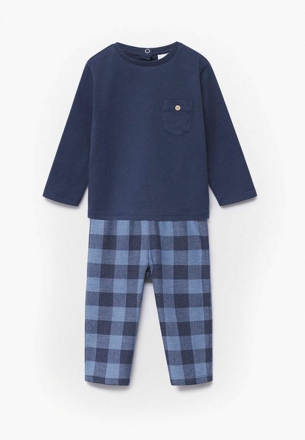 пижама mango kids для мальчика, синяя