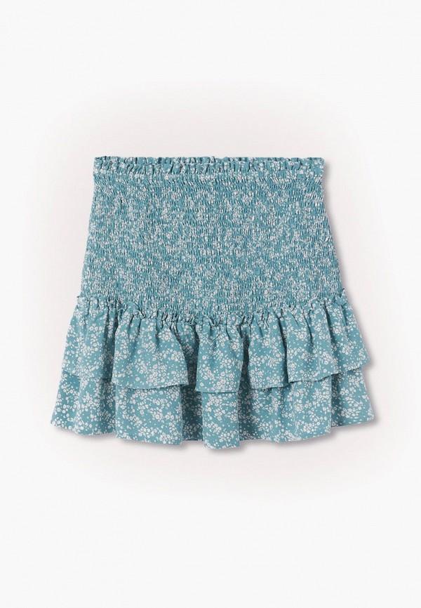 юбка mango kids для девочки, бирюзовая
