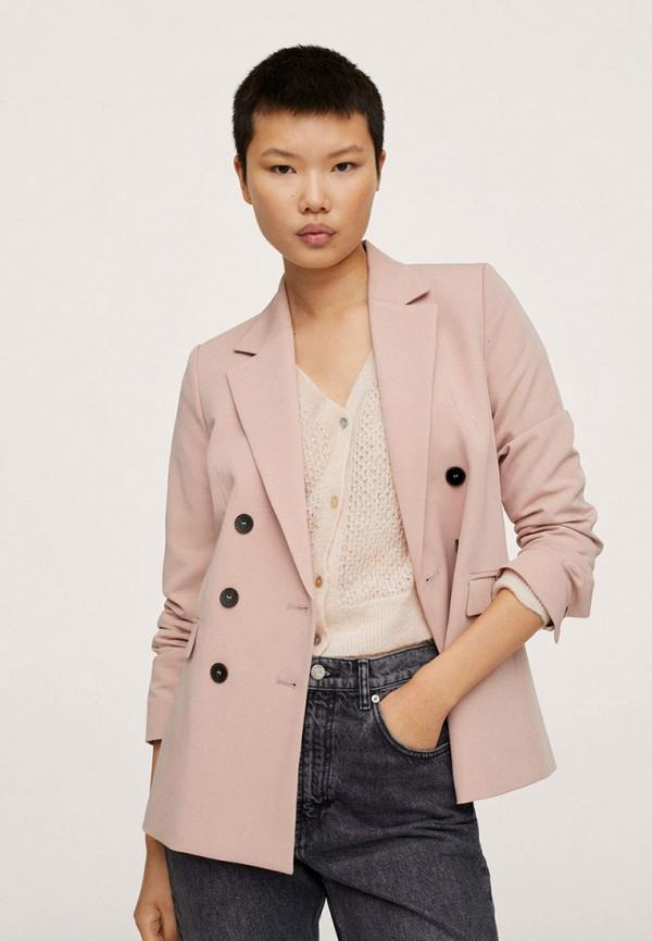 женский пиджак mango, розовый