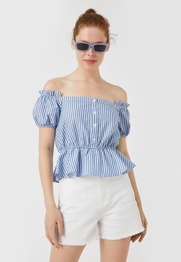 женская блузка koton, голубая