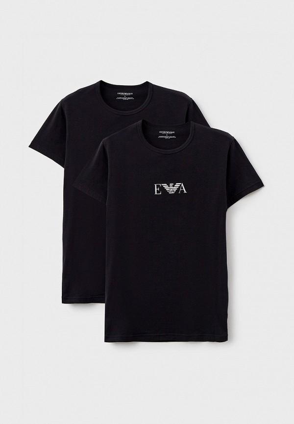 мужская футболка с коротким рукавом emporio armani, черная