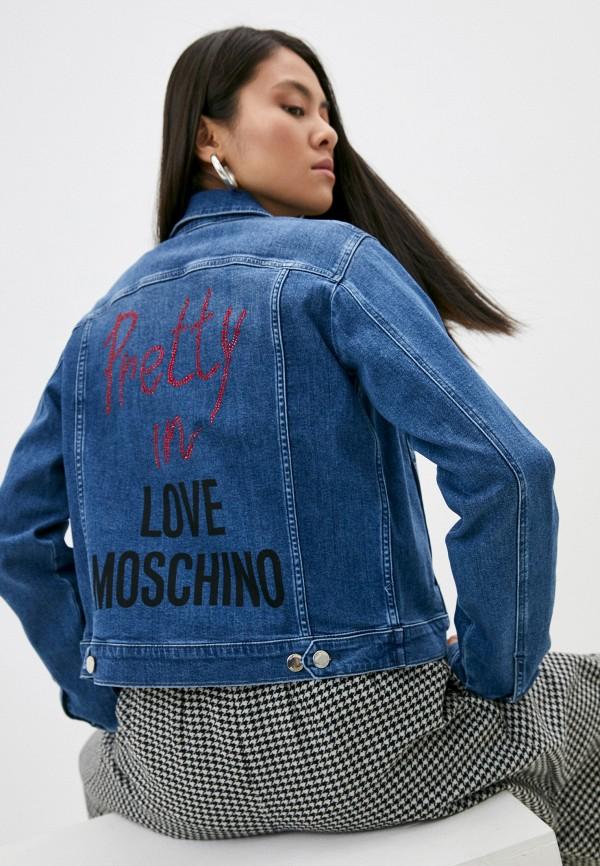 женская джинсовые куртка love moschino, синяя