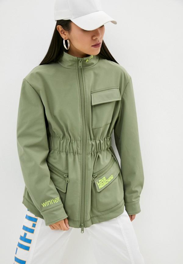 женская легкие куртка love moschino, зеленая
