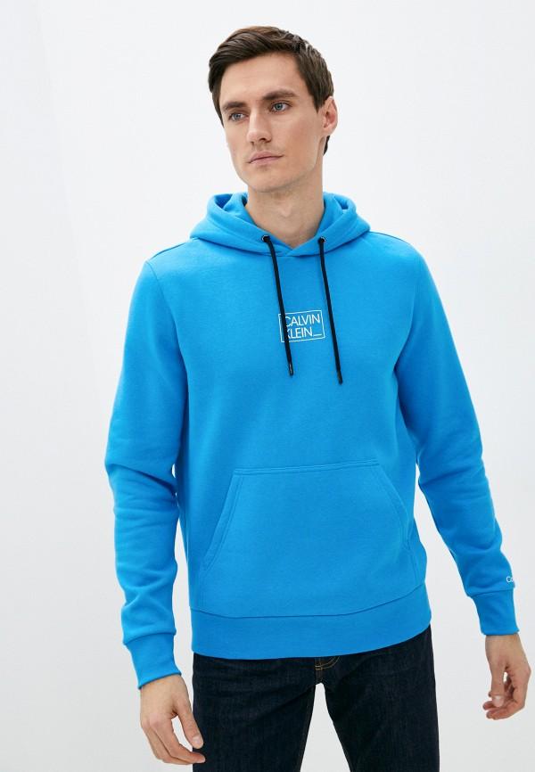 мужские худи calvin klein, голубые