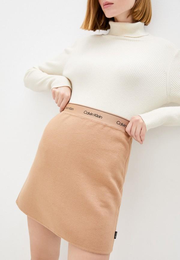 женская юбка-трапеции calvin klein, бежевая