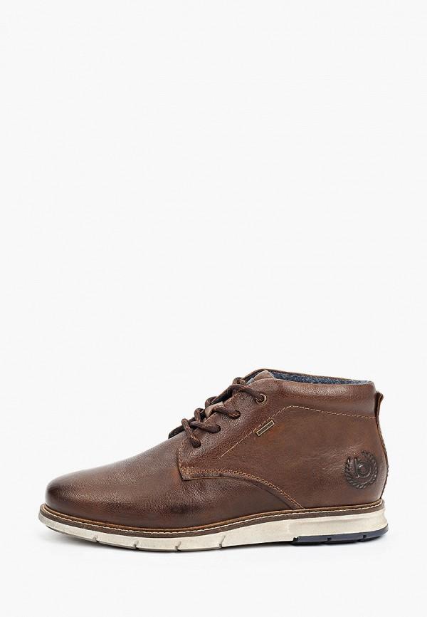 мужские высокие ботинки bugatti, коричневые