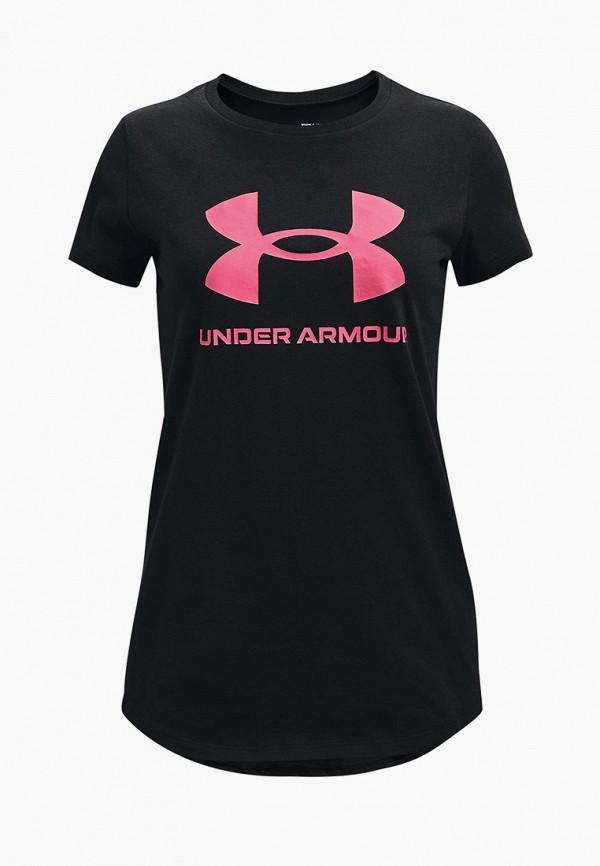 футболка с коротким рукавом under armour для девочки, черная