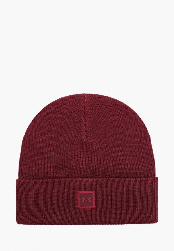 мужская шапка under armour, бордовая