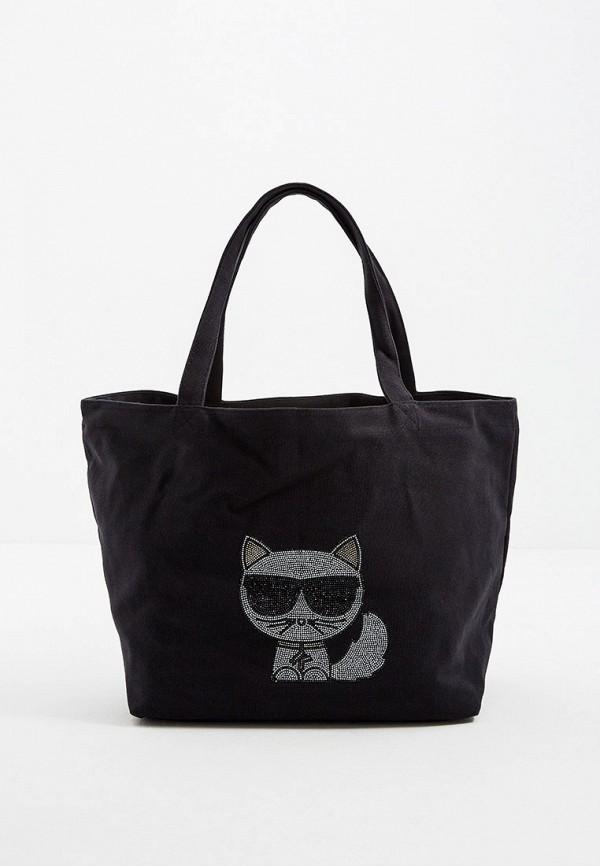 женская сумка-шоперы karl lagerfeld, черная