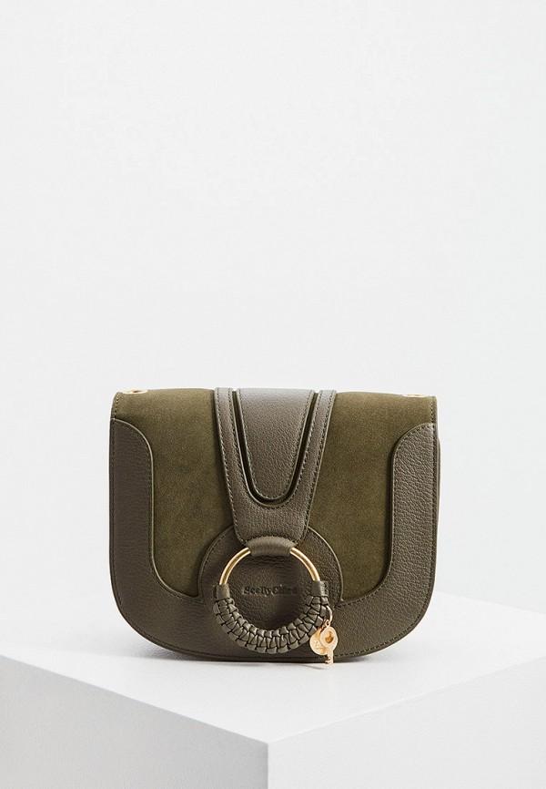 женская сумка через плечо see by chloe, хаки