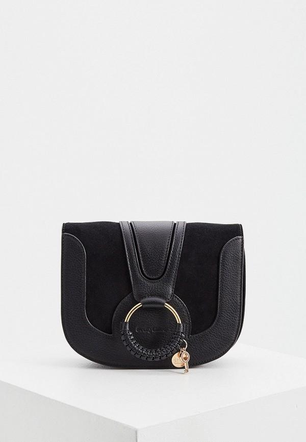 женская сумка через плечо see by chloe, черная